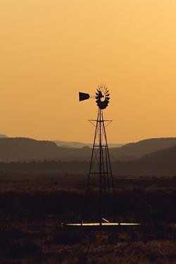 A Desert Windmill at Sunset by Wesley Hitt