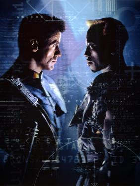 """WESLEY SNIPES; SYLVESTER STALLONE. """"Demolition Man"""" [1993], directed by MARCO BRAMBILLA."""