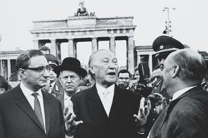 West German Chancellor Konrad Adenauer at Brandenburg Gate, Oct. 31, 1963