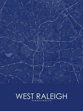 West Raleigh, United States of America Blue Map