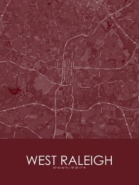 West Raleigh, United States of America Red Map