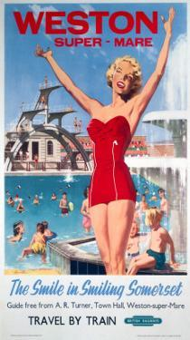 Weston-Super-Mare, the Smile in Smiling Somerset, Girl in Red at the Swimming Pool
