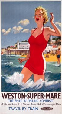 Weston-Super-Mare, the Smile in Smiling Somerset, Girl in Red, Pier in Background