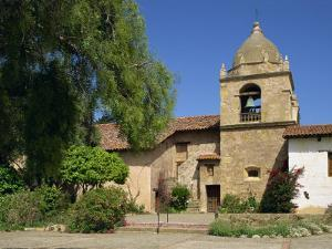 Basilica and Bell Tower at Carmel Mission, Founded 1770, Carmel by the Sea, California, USA by Westwater Nedra