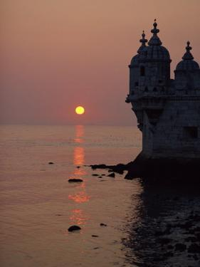 Turrets of the 16th Century Belem Tower Silhouetted in the Sunset, in Lisbon, Portugal, Europe by Westwater Nedra