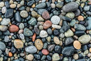 Wet stones on beach, British Columbia, Canada