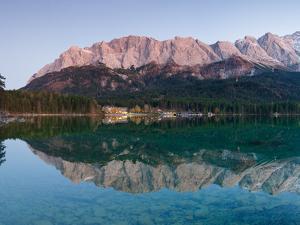 Wetterstein Mountains, Zugspitze Mountain Reflecting in Lake Eibsee, Bavaria