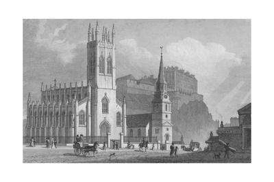 'St. John's Chapel, St. Cuthbert's Church, and New Barracks', 1829