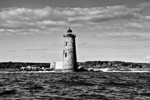 Whaleback Lighthouse Maine Black and White Plastic Sign