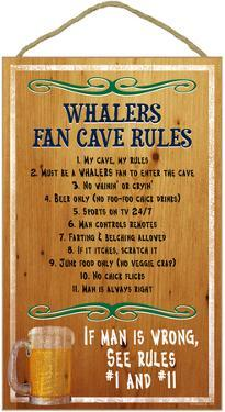 Whalers Fan Cave Rules Wood Sign