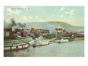 Wharf with Steamboats, Wheeling, West Virginia