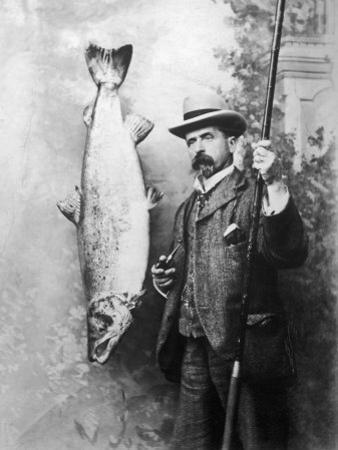 What a Whopper! a Victorian Gentleman Stands Proudly Next to the Salmon He Has Caught