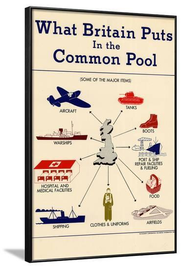 What Britain Puts in the Common Pool WWII War Propaganda Art Print Poster--Framed Poster