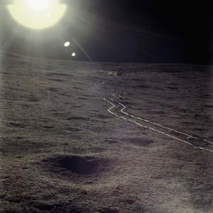 Wheel Tracks on the Surface of the Moon