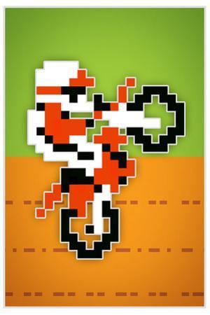 Wheelie 8-bit Video Game Plastic Sign