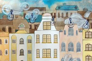Whimsical City & Light Bulbs