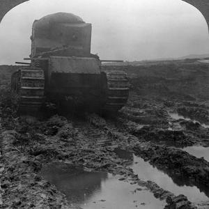 Whippet Tank on a Muddy Battlefield, Morcourt, France, World War I, 1918