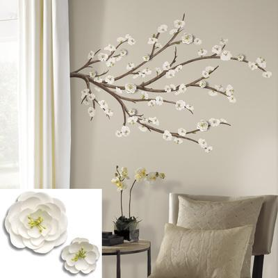 white blossom branch peel and stick giant wall decals with flower