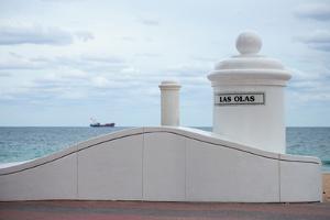 White decorative columns at Las Olas Beach in Fort Lauderdale, Broward County, Florida, USA