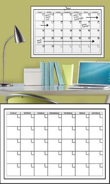 White Dry-Erase Calendar Wall Decal Sticker