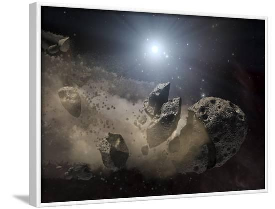 White Dwarf Star Surrounded by a Disintegrating Asteroid-Stocktrek Images-Framed Photographic Print