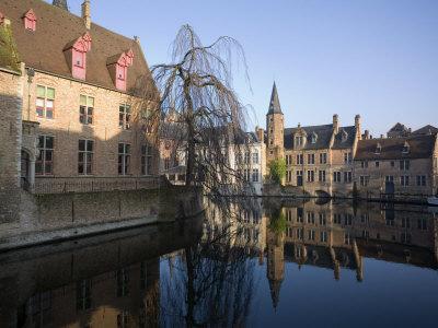 Rozenhoedkaai and Belfry from Braambergstraat, Near Markt, Central Bruges, Belgium