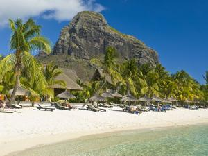 White Sand Beach of the Five Star Hotel Le Paradis, With Le Morne Brabant in Background, Mauritius