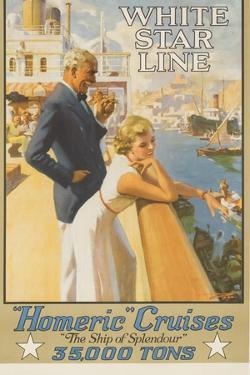 White Star Line Homeric Cruise the Ship of Splendour Travel Poster