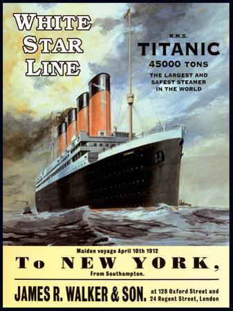 White Star Line Titanic - to New York