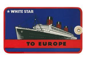 White Star to Europe Queen Mary Ocean Liner Luggage Tag