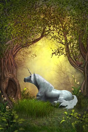 White Woodland Unicorn