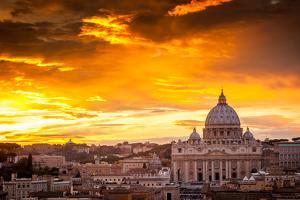 Basilica of St. Peter at Sunset with the Vatican in the Background in Rome, Italy by whitewizzard