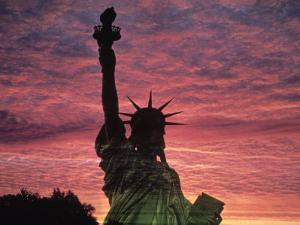 Statue of Liberty at Sunset, NYC by Whitney & Irma Sevin