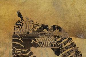 Zebras on Ochre by Whoartnow
