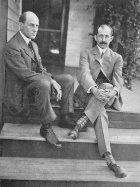 Wilbur and Orville Wright on the Steps of Their Home