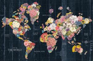 Botanical Floral Map Words by Wild Apple Portfolio