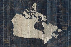 Old World Map Blue Canada by Wild Apple Portfolio