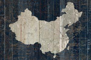 Old World Map Blue China by Wild Apple Portfolio