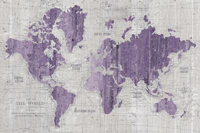Old World Map Purple Gray