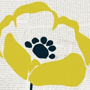 Pop Art Floral III Yellow Newsprint by Wild Apple Portfolio