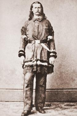 Wild Bill Hickok Portrait in Buckskins with a Large Knife Tucked into His Belt, Ca. 1869