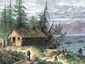 Wilderness Log Cabin of Pioneers Who Travel by River
