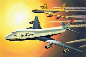 Boeing 747 with Boeing 707 in Background by Wilf Hardy