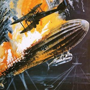 Shooting Down a Zeppelin During the First World War by Wilf Hardy
