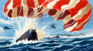 Space Capsule Returns to Earth by Parachute by Wilf Hardy