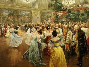 Emperor Franz Joseph, 1830-1916, at Ball in Vienna in 1900 to Salute Start of New Century by Wilhelm Gause