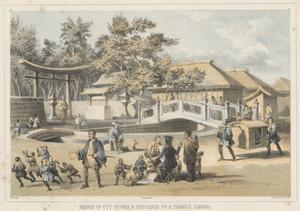 Bridge of Cut Stone and Entrance to a Temple, Simoda, 1855 by Wilhelm Joseph Heine