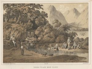 Kanaka Village Bonin Islands, 1855 by Wilhelm Joseph Heine