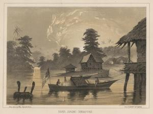 River Jurono, Singapore, 1855 by Wilhelm Joseph Heine