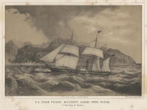 U.S. Steam Frigate Mississippi Passing Punta Tristao, 1855 by Wilhelm Joseph Heine